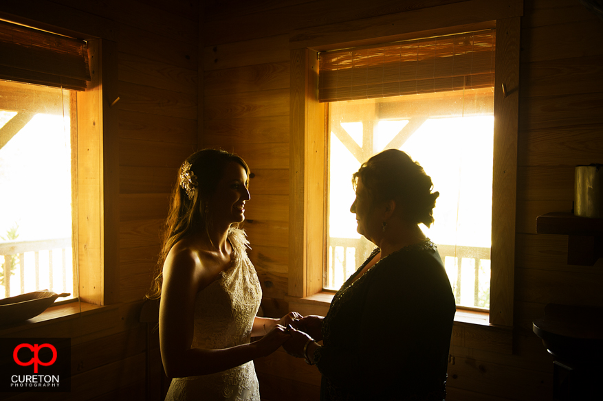 Bride getting ready at San Souci Farms.