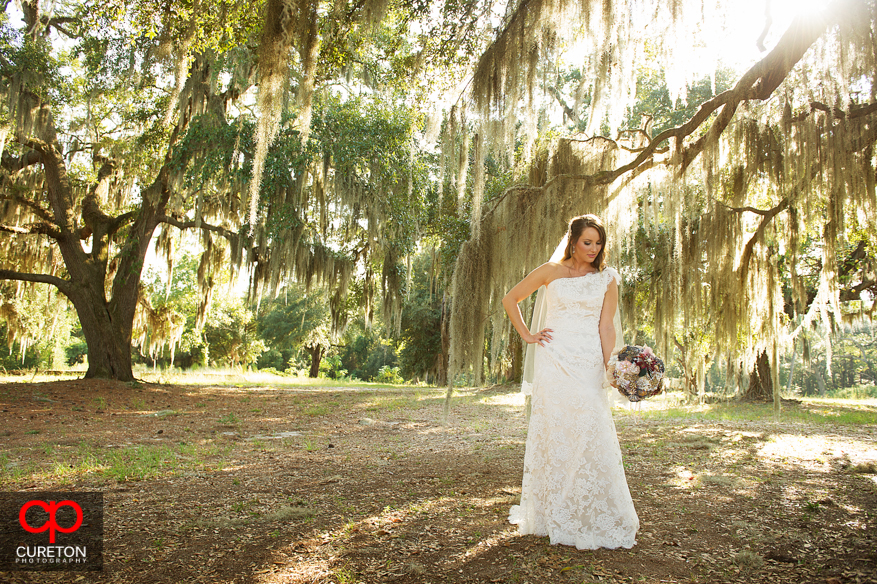 Beautiful bride at San Souci Farms with Spanish moss trees.