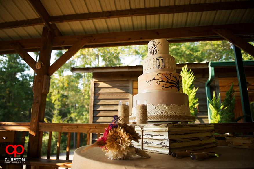 Wedding cake at the pavilion at San Souci Farms.