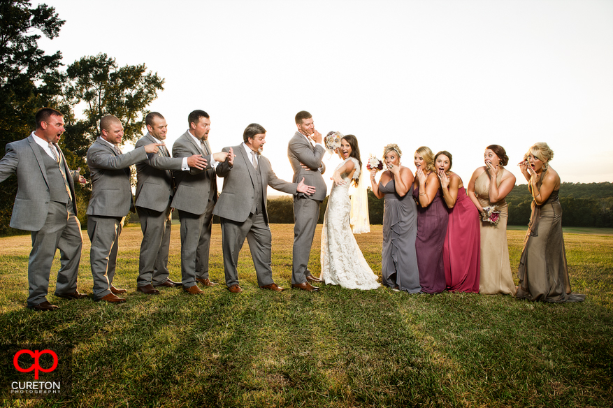 Bride shows off her ring at San Souci Farms.