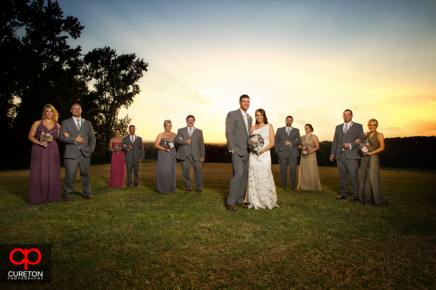 Entire bridal party at San Souci Farms after the wedding.