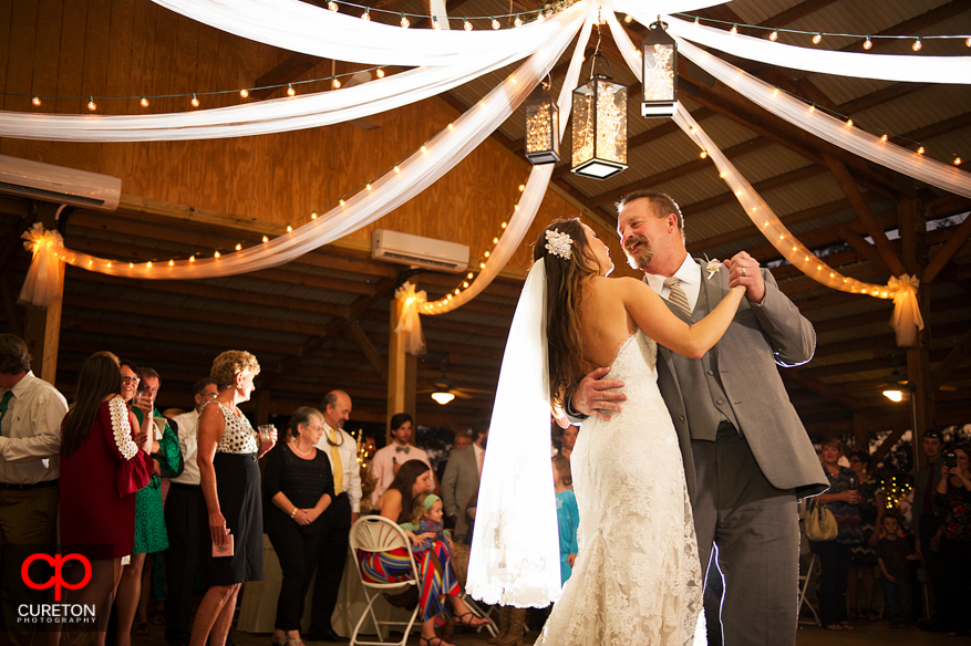 Bride and Groom's first dance at their wedding reception at San Souci Farms.