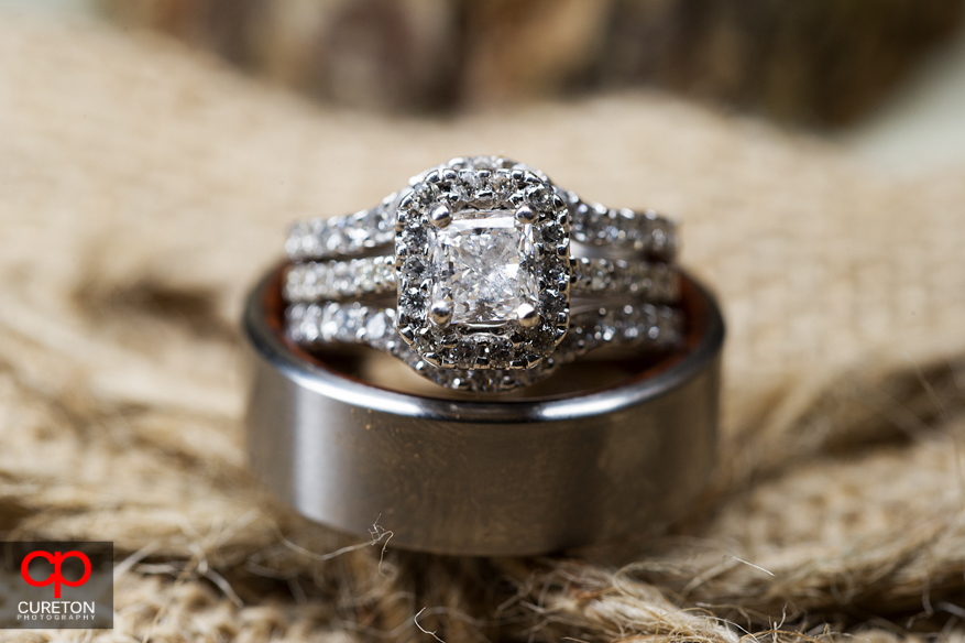 Wedding rings on burlap.