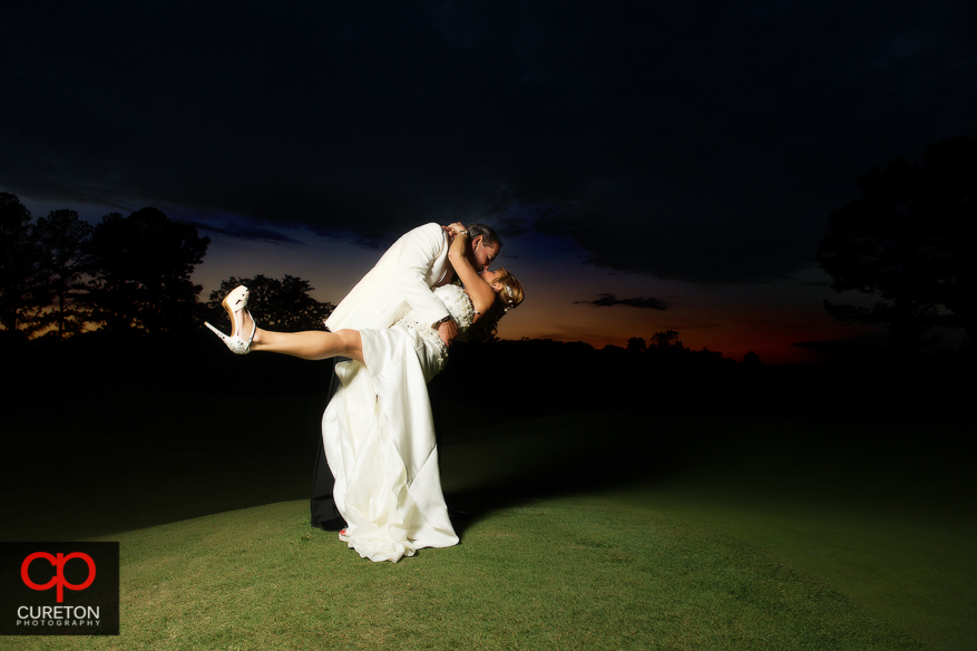 Bride and groom at sunset after their Spartanburg Country Club wedding.