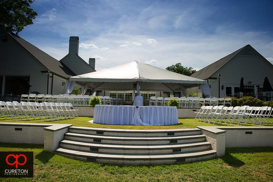 Wedding setup outside Spartanburg Country Club.