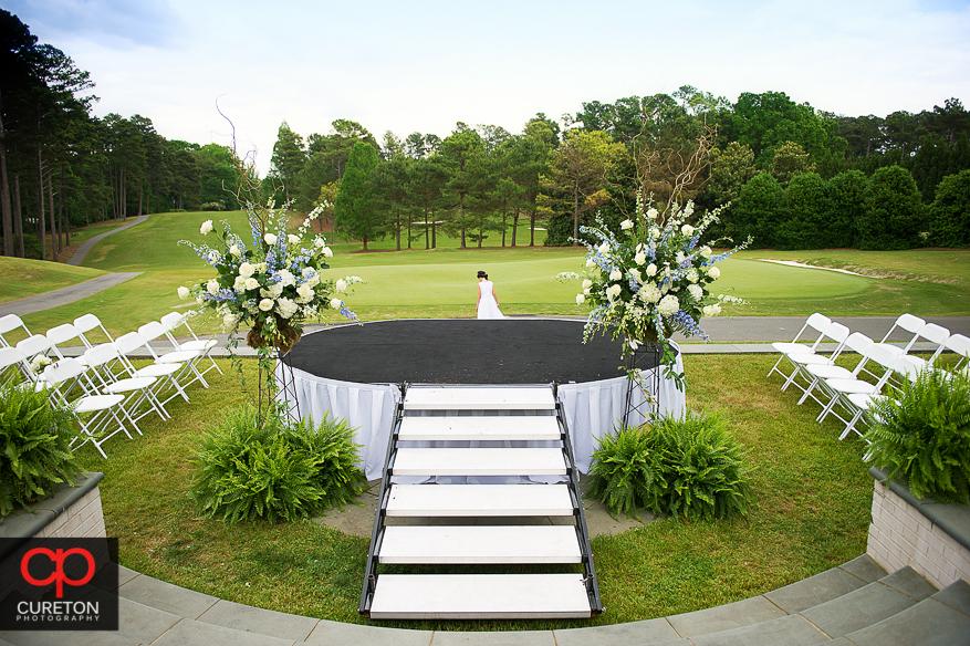 Outdoor wedding setup on the golf course.