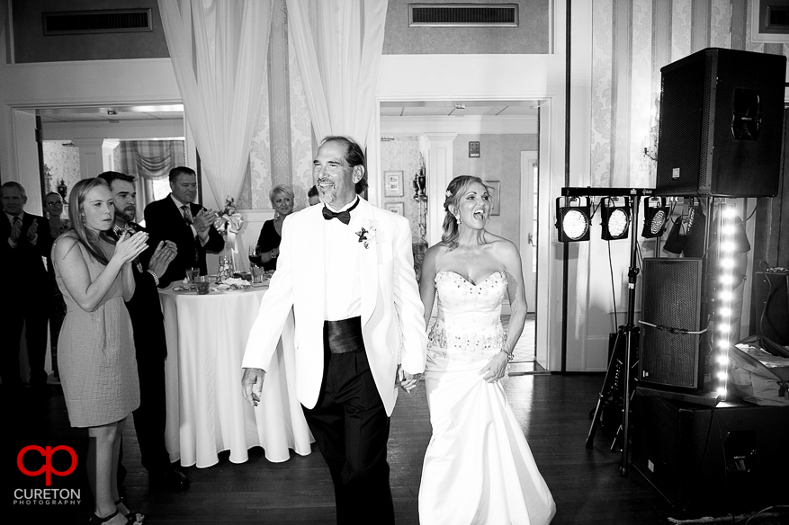 Bride and groom introduced at he reception.