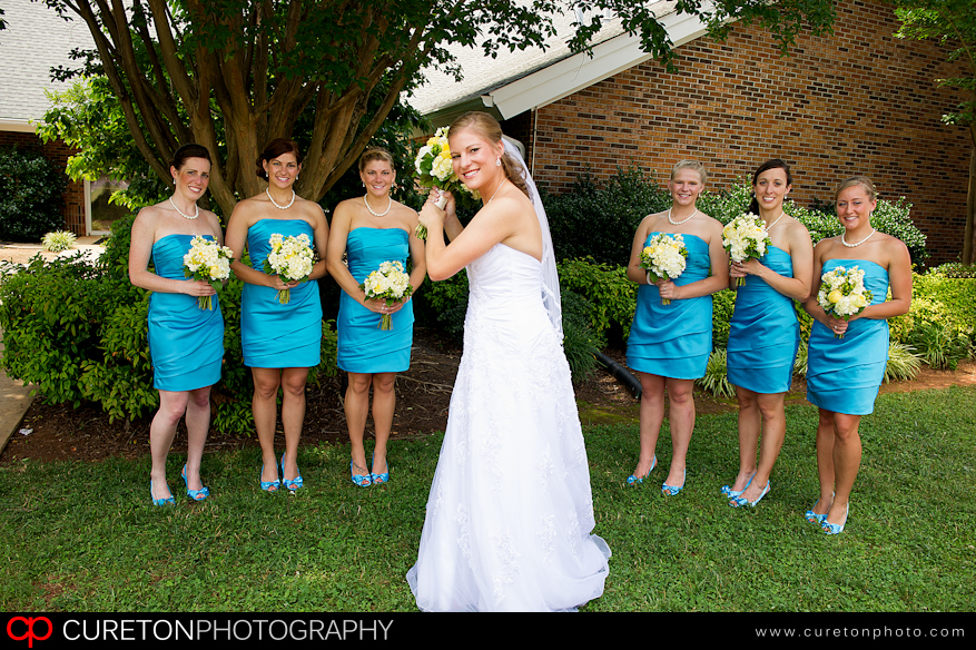 Bride and Bridesmaids at St Mary Magdalene Greenville,SC before the wedding.