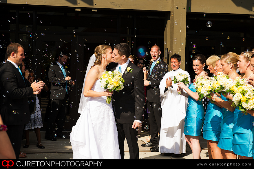 Bride and Groom outside St Mary Magdalene in Greenville,SC