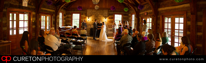 The inside of Table Rock lodge during a wedding.
