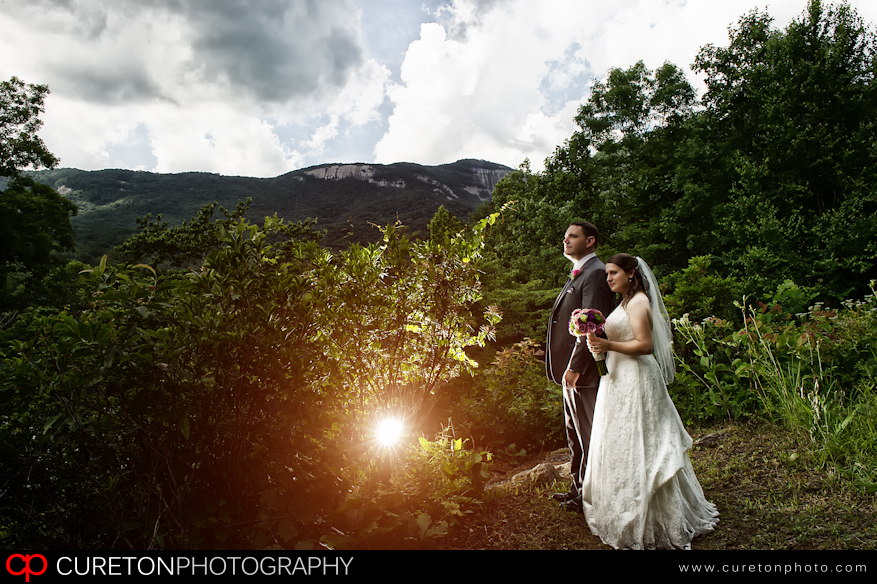 Table rock wedding couple looking at the mountains.