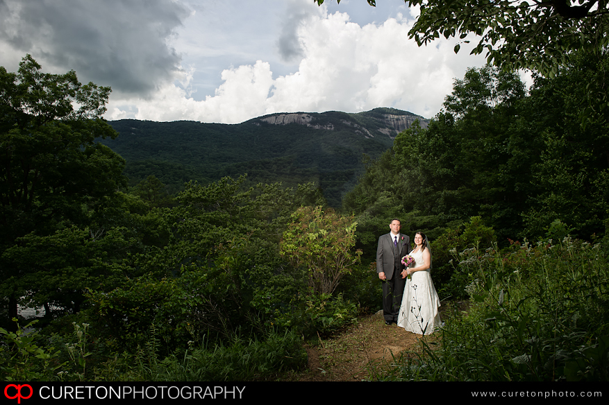 Bride and Groom with Table Rock in the background.