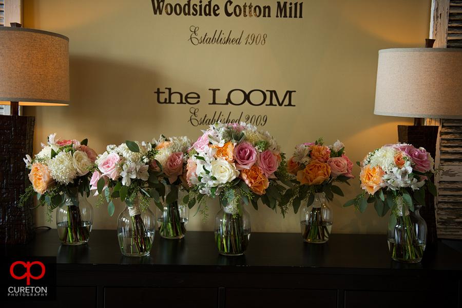 The bridal bouquets.