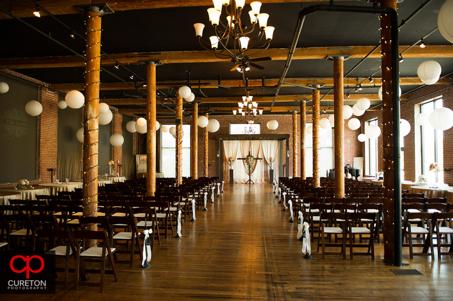 The setting for the wedding ceremony at The Loom in Simpsonville,SC..
