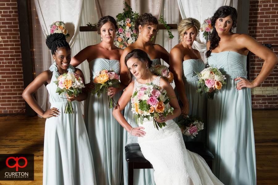 High fashion Vanity Fair styled bridesmaids photo.