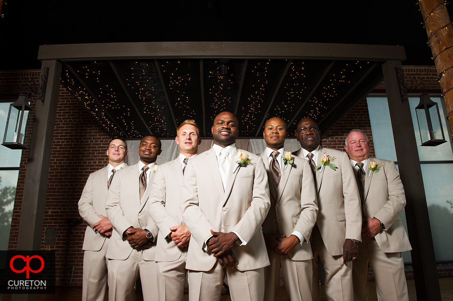 The groomsmen posing before the wedding.