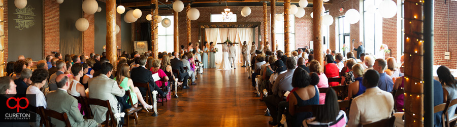 Panoramic shot of a wedding at The Loom at Cotton Mill Place in Simpsonville,SC.