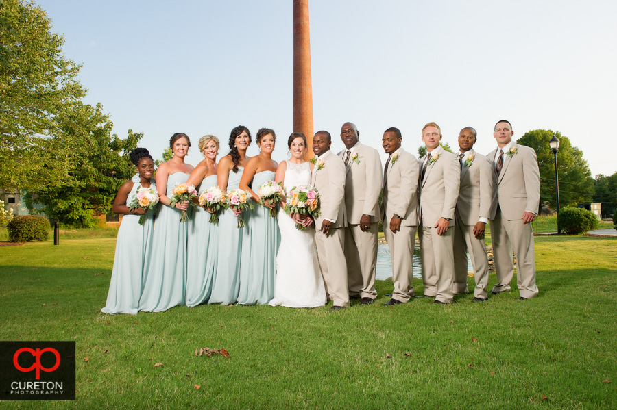 Bridal party out back at The Loom in Simpsonville,SC..