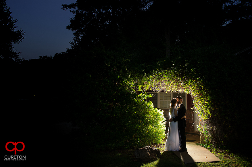 Couple kissing after their Timberock at Hopkins Farm wedding in Simpsonville,SC
