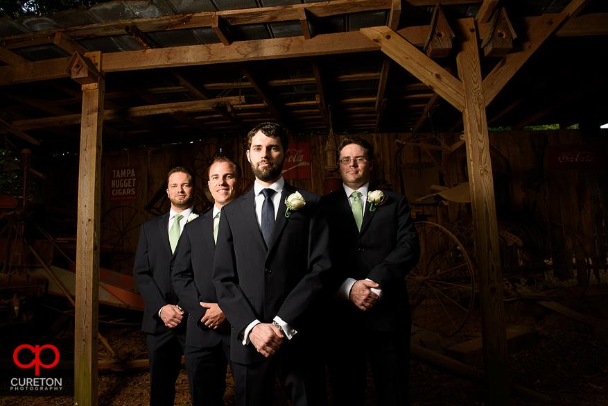 Dramtic shot of the groom and groomsmen.