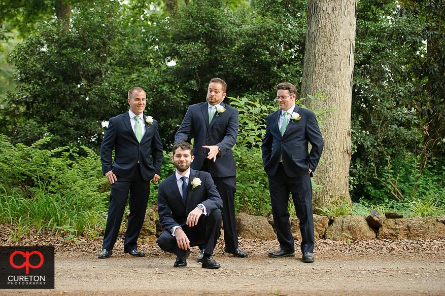 Groom and the groomsmen having fun.