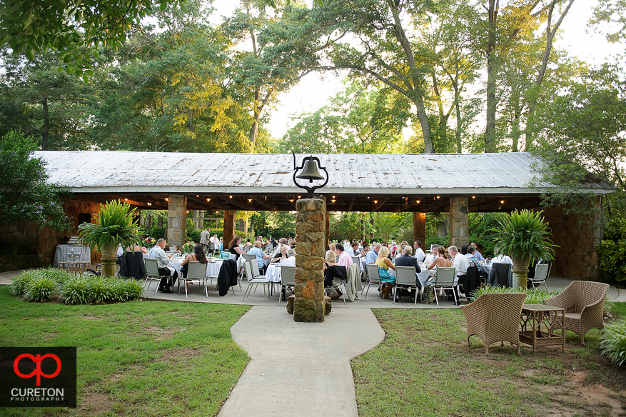 The covered pavilion at the farm reception.