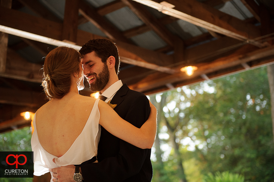 The bride and groom share a first dance at Timberock at Hopkins Farm.