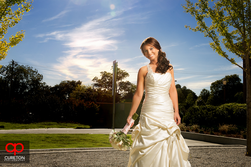 Closeup shot of smiling bride