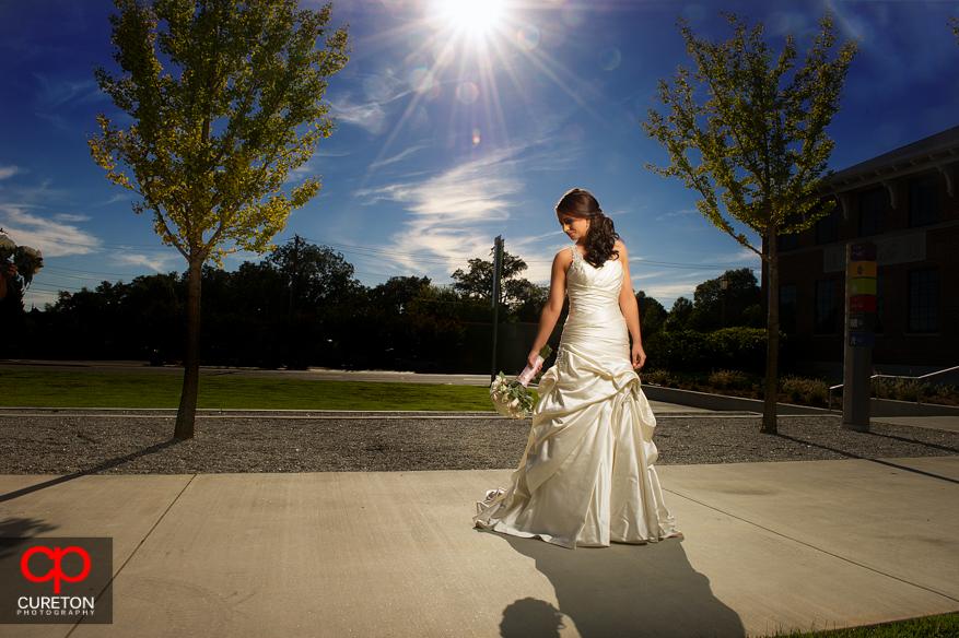 Fashion forward shot of the bride.