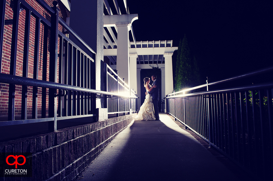 Unique angle shot of couple after their wedding in Greenville,SC.