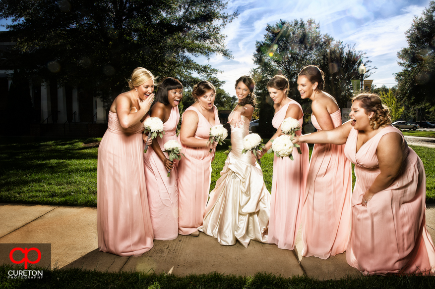 Creative shot of the bridesmaids and the bride.