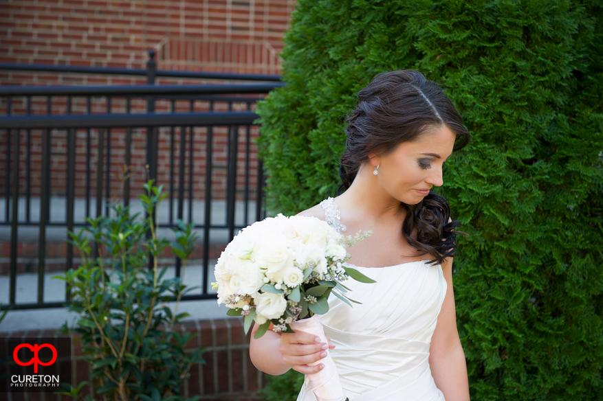 Bride looking away.
