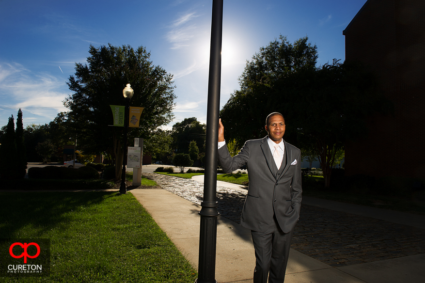 Groom outside Upcountry History Museum in Greenville,SC.