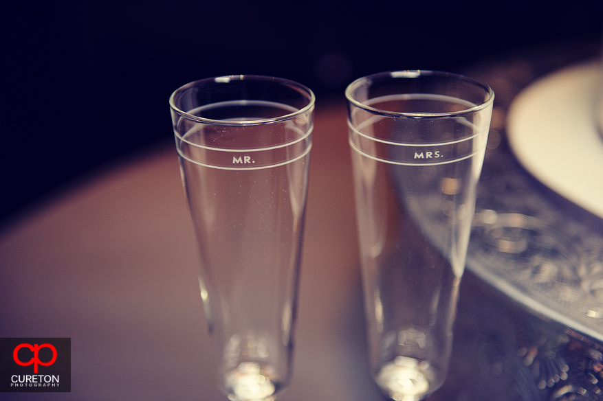 Toasting glasses before the toast.