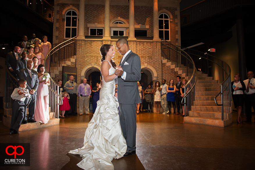 Couple enjoying their first dance as husband and wife.