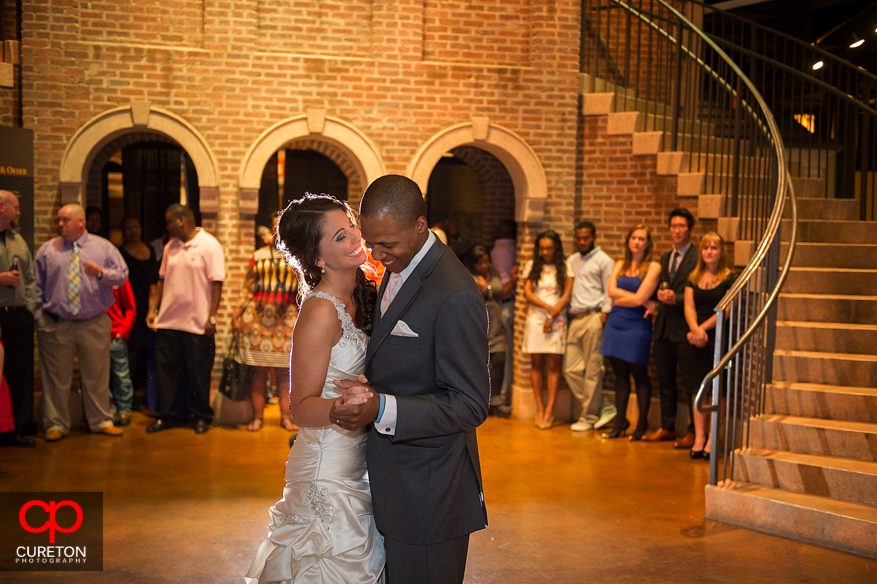 Bride and groom dancing at Upcountry History Museum in Greenville,SC.