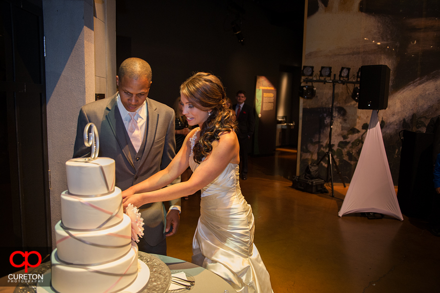 Bride and groom cutting the cake at Upcountry History Museum.