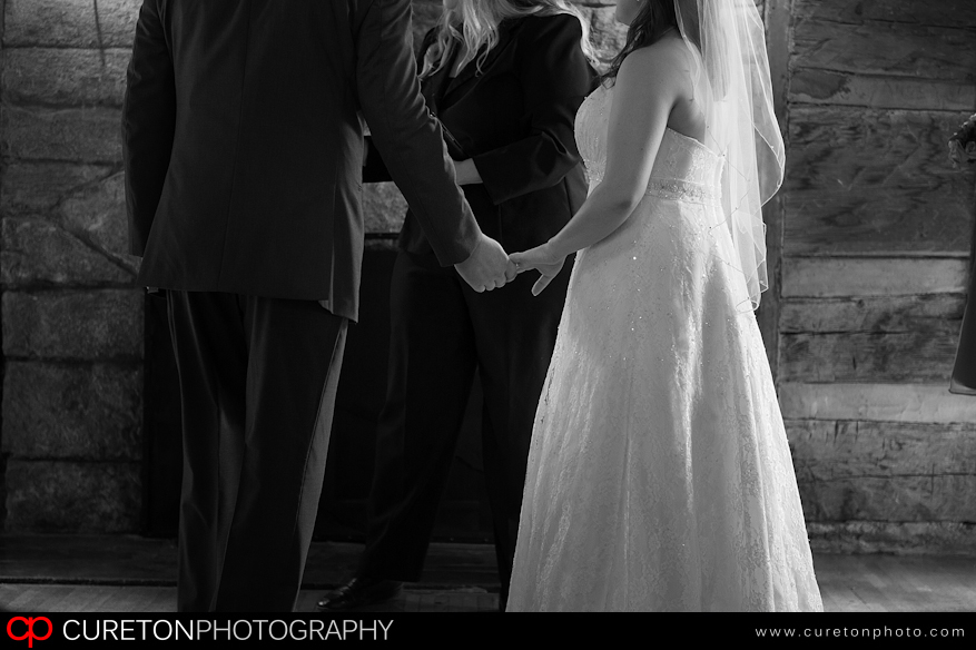 Black and White shot of couple getting married.