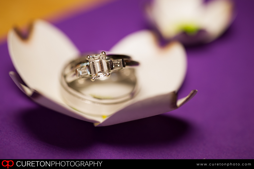Wedding rings shot up close.