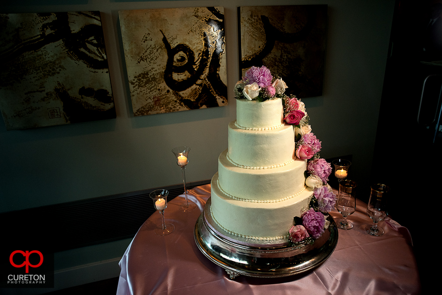 Gorgeous wedding cake at Zen in downtown Greenville..