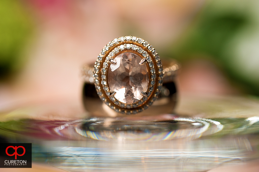 Closeup macro shot of the wedding rings.