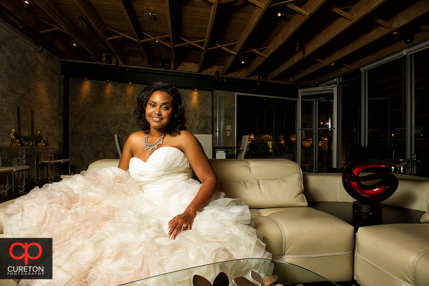 The bride in the loft at Zen in downtown Greenville..