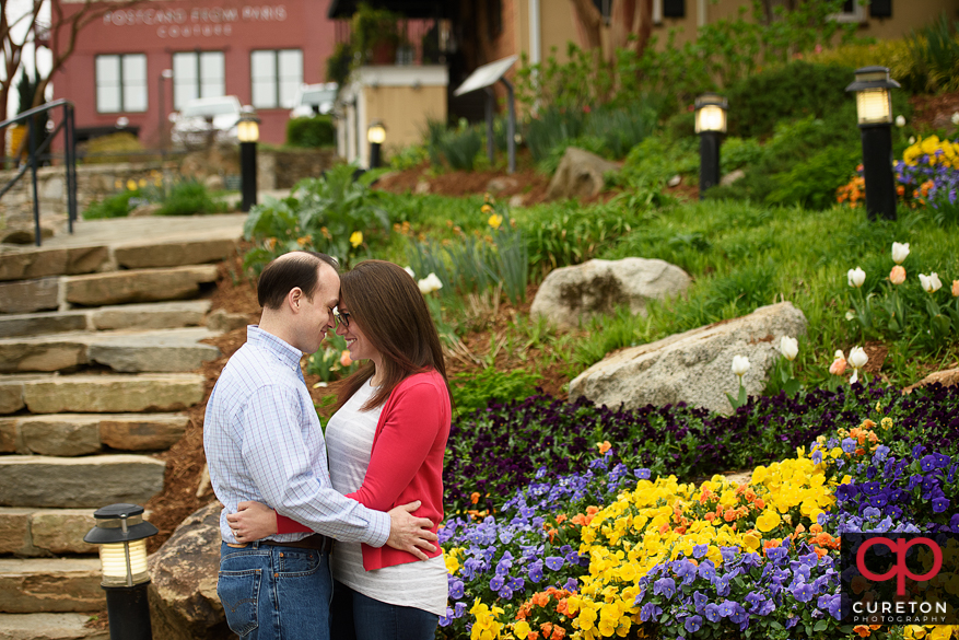Couple in falls park in downtown Greenville,SC.
