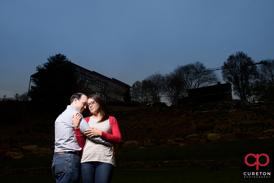Epic creative engagement photo in downtown Greenville,SC.