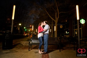 Epic nighttime engagement photo in downtown Greenville,SC.