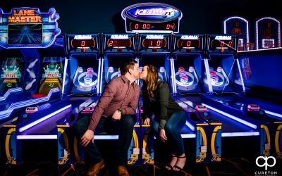 Arcade Engagement Session at Spare Time in Greenville,SC – Chasidy and Stephen