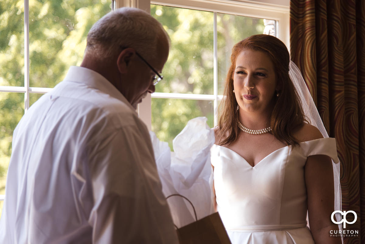 Bride and her dad before the ceremony.