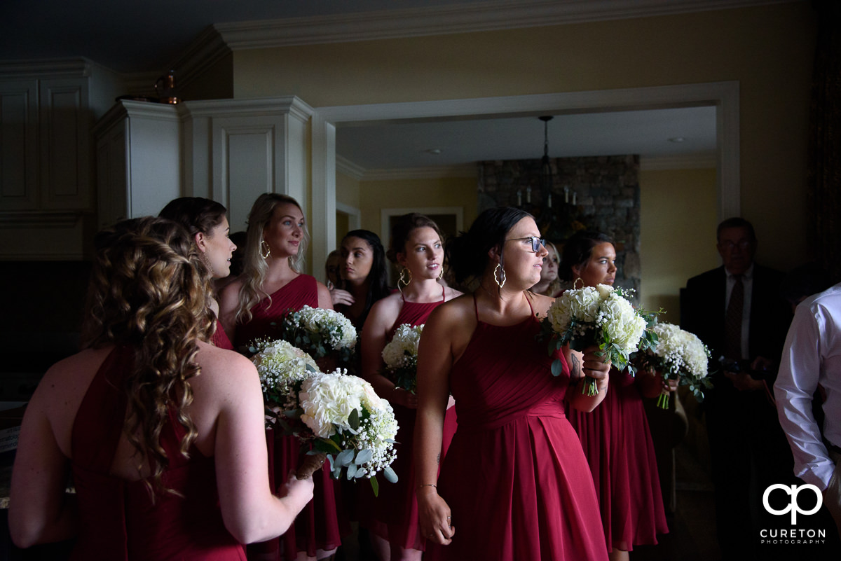 Bridesmaids gathering before the ceremony.