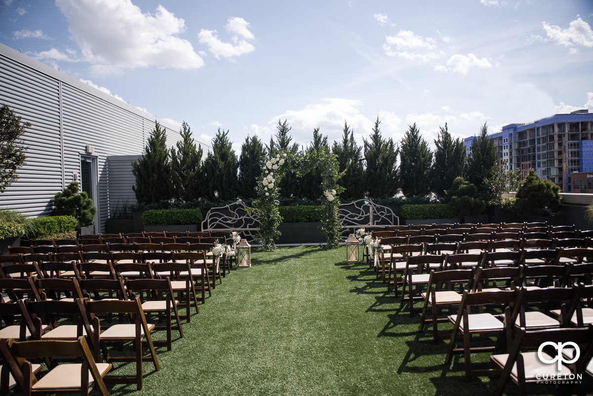 Rooftop wedding ceremony setup at Avenue in Greenville, SC.