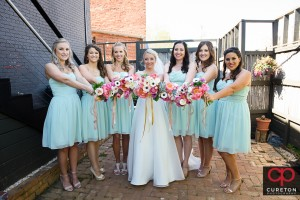 Cute shot of bride and bridesmaids.